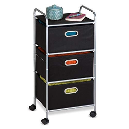 Metal Frame Storage Drawer - 3-Drawer Storage Chest with 4 Castered Wheels - Black