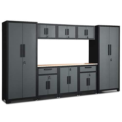 Goplus 9-Piece Garage Storage Cabinet Sets w/Rubber Wood Worktop, 24 Gauge Lockers...