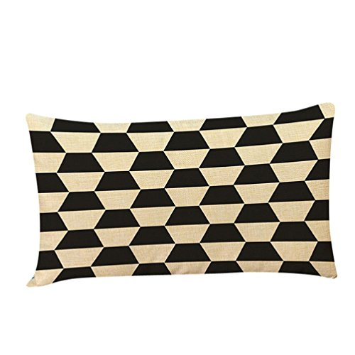 Pattern Silk Arrow (Pillow Case,Bokeley Cotton Linen Rectangle Geometric Pattern Printing Decorative Throw Pillow Case Bed Home Decor Car Sofa Waist Cushion Cover (E))