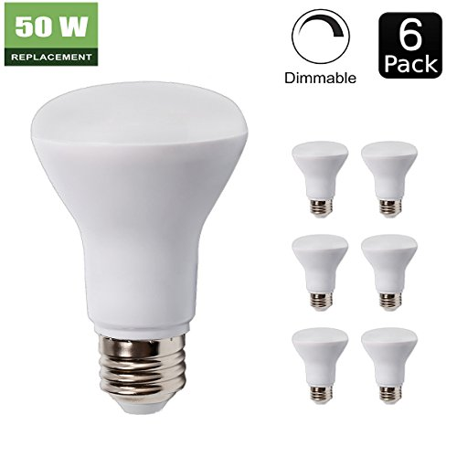 6 Pack - BR20 Dimmable LED Bulb, 7W ( 50W Equivalent ), R20 Wide Flood Light Bulb, 3000K Warm White 550lm, 120° Beam Angle, E26 Medium Screw Base, UL Listed, (R20 Floods)