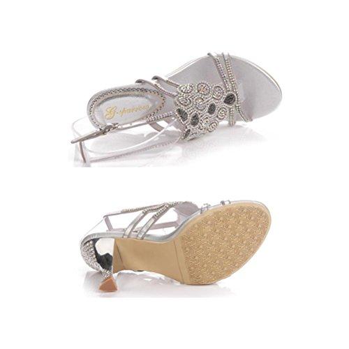 Profondes Paillettes Perles Chaussures Sandales Xie Femmes 33 Fine Boucle Strass Talon Hauts Mme Talons Silver Ajouré Peu TFJclK1