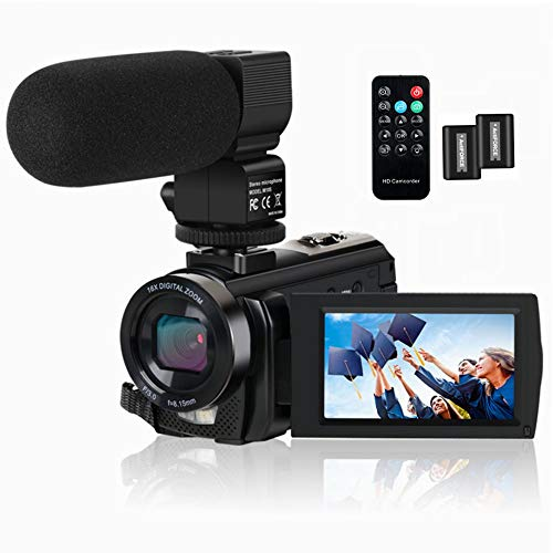 Video Camera Camcorder HD 1080P 24.0MP 3.0 Inch LCD 270 Degrees Rotatable Screen 16X Digital Zoom Video Recorder,Remote Control and 2 Batteries ()