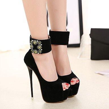Le donne sexy elegante sandali donna tacchi a spillo/Moda/stile popolare/club/calzature in pelle scamosciata/Strass Sexy//nero , nero , us8.5 / EU39 / uk6.5 / CN40