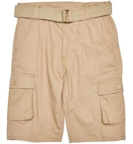 (Quad Seven Boys Ripstop Belted Cargo Shorts, Khaki 1, Size 14')