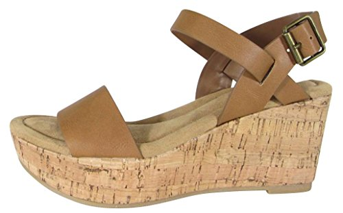 Cambridge Velg Et Dame Spenne Ankel Strappy Kork Plattform Kile Sandal Tan  Pu