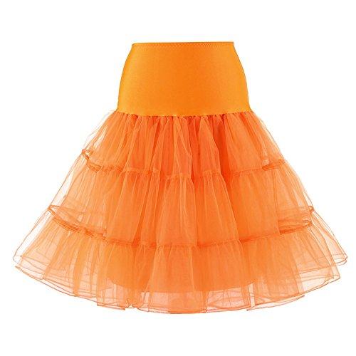 Underskirt Sfit Tulle 50s Vintage Petticoat Jupe Orange Tutu Femme Jupons wx0nrwqHC
