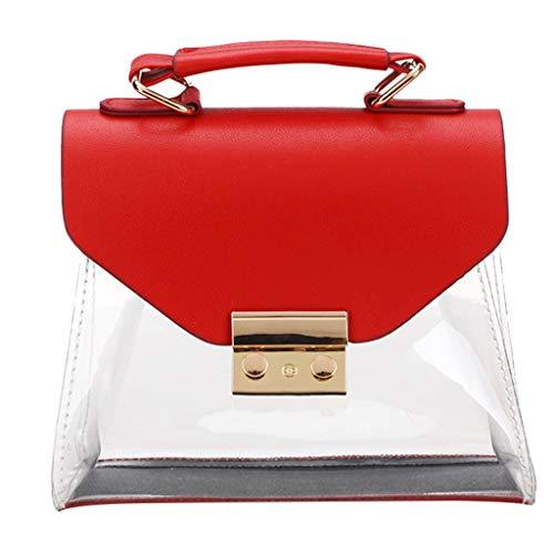 Women Transparent Bag Clear PVC Jelly Tote Messenger Bags Shoulder Bags Lady Key Purse Phone Makeup Handbag (Red, One) -