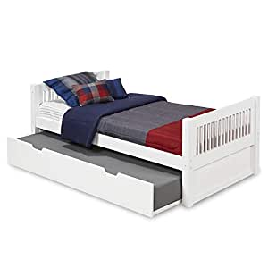 camaflexi mission style solid wood platform bed with trundle twin white kitchen. Black Bedroom Furniture Sets. Home Design Ideas