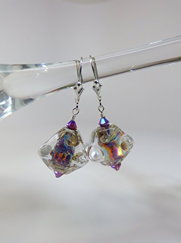 Dichroic Swirled Artisan Lampwork Earrings with Swarovski Accents and Sterling Silver Leverback Ear Wires (Swirled Accents)