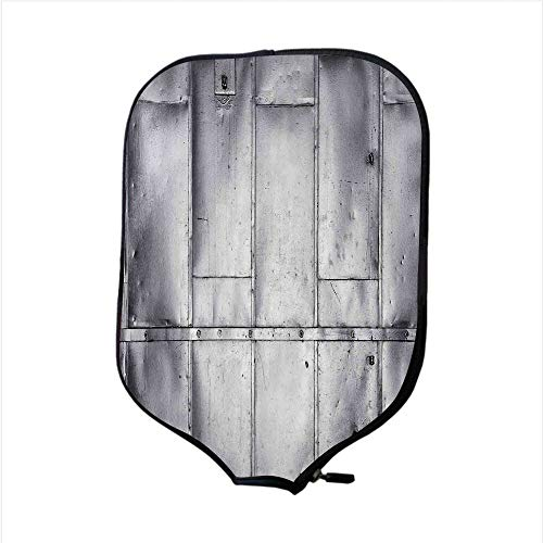 Neoprene Pickleball Paddle Racket Cover Case,Industrial,Steel Panels Industrial Wall Theme Aluminum Background Futuristic Engineering Print Decorative,Silver,Fit For Most Rackets - Protect Your Paddle