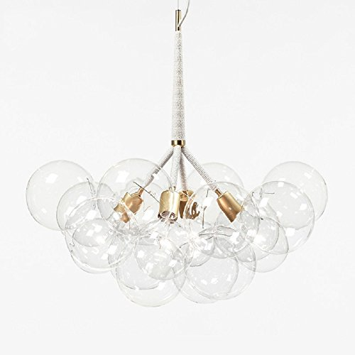 Bubble Glass Chandelier Chandeliers Lighting Suspension Light Ceiling Light Pendant Lamp Ceiling Mount 4 Lights with 12 Bubble Glass (Light Chandelier Twelve Steel)