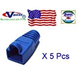 5 Pcs / Pack, RJ45 Modular Snagless Plug Boot - BLUE