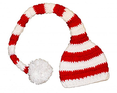 Red Stripe Baby Boys Girls Christmas Holiday Crochet Santa Hat 6 month - toddler