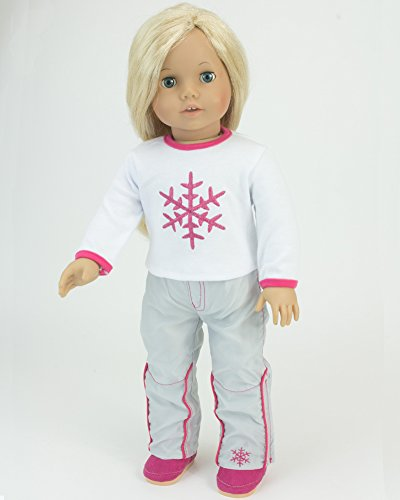 Snowflake T & Snowboard Pants | Doll Ski or Snowboard Outfit, 18 Inch Doll Clothes Fits American Girl Dolls | 2 - Ski Sf