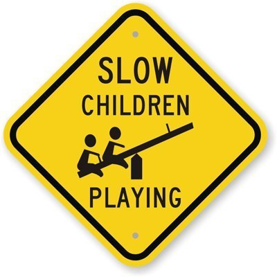 Iliogine Funny Metal Signs Slow Children Playing with Seesaw Graphic 63 mil Garage Home Yard Fence Aluminum Plaque Wall Art 12 x 12