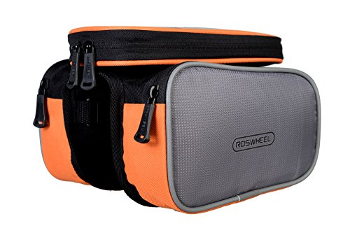 Roswheel 12813 Bike Frame Bag Bicycle Tube Top Double Panniers Cycling Accessories Pack with Detachable Phone Pouch, Orange