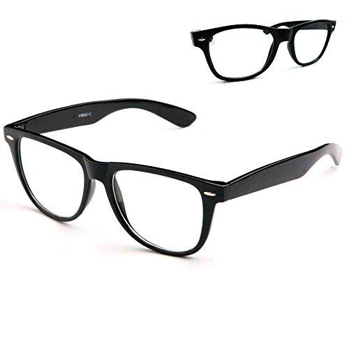 Black Nerdy Geek Old School Clear Lens Horn Rim Eye Glasses Plastic Frame - Glasses Framed Prescription Black Non