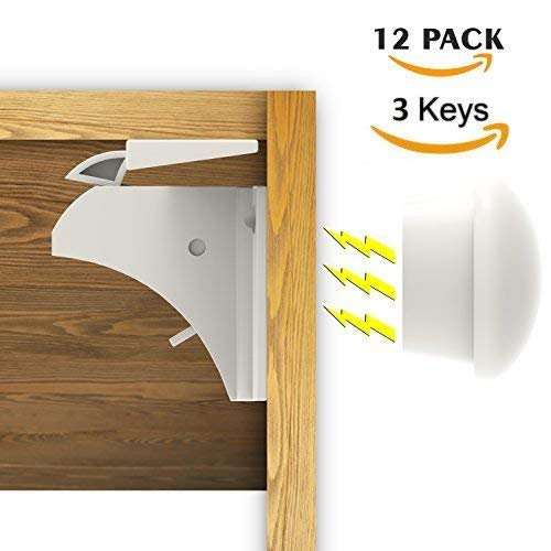 Magnetic Cabinet Locks -Baby Safety Child Proof Cabinet & Drawers -12 Locks + 3 Keys + Installation Cradle