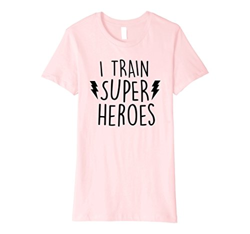 Womens I Train Super Heroes T Shirt - Cute Mom Dad Shirt XL (Super Hero Female)