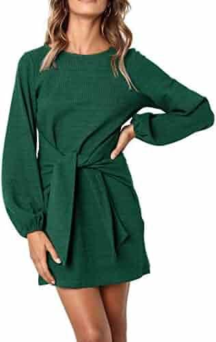 R.Vivimos Women's Autumn Winter Cotton Long Sleeves Elegant Knitted Bodycon Tie Waist Sweater Pencil Dress