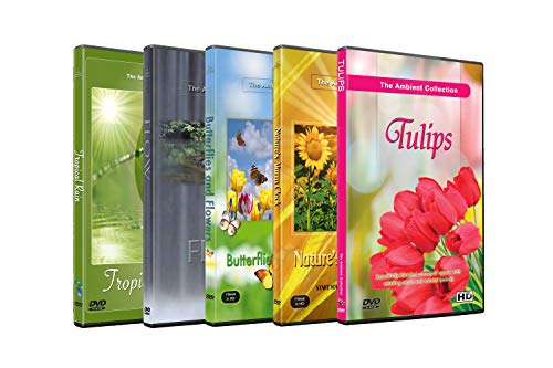 (5 Disc Set DVD Combo Pack - Butterfly on Flower, Tulip Garden, Tropical Rain - Relaxation HD Videos with Nature Sounds or Music)
