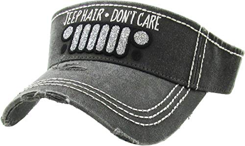H-201-JHDC06 Ponytail Visor Patch Hat - Jeep Hair Don't Care, -