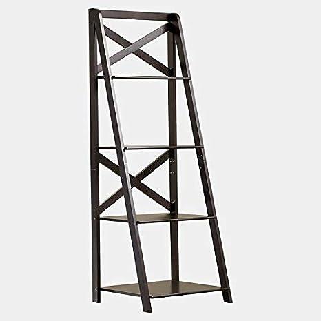 Amazon Com Bukk Wood Leaning Bookcase 4 Tier Bookcase
