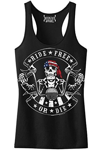 Junior's Ride Free Or Die American Biker Skull Black Racerback Tank Top T-Shirt X-Large - Tank Biker