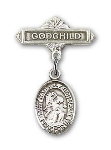 Icecarats Créatrice De Bijoux En Argent Sterling St. Gabriel La Broche Badge Filleul De Charme Archange 1 X 5/8
