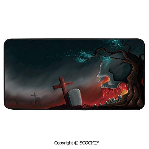 Soft Long Rug Rectangular Area mat for Bedroom Baby Room Decor Round Playhouse Carpet,Halloween,Graveyard Cemetery Tree with Evil Skull Tomb Stone,39
