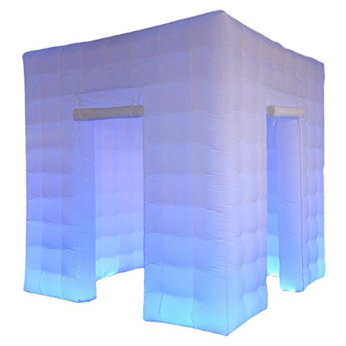 Stagerbooth Inflatable Portable Photo Booth Enclosure with 16 Colors LED Changing Lights and Inner Air Blower for Weddings Parties Promotions Advertising (Two doors)