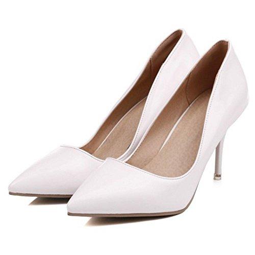 Stiletto Scarpe White Donne Pompe Chiuse con RAZAMAZA Tacco Alto Moda 7YBBx1