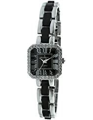 Peugeot Womens 7072BK Acrylic Link Crystal Accented Silver-tone Black Watch