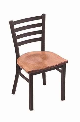 """Holland Bar Stool 400 Jackie 18"""" Chair with Black Wrinkle Frame Finish and Your Choice of Wood or Upholstered Seat, Medium Maple"""
