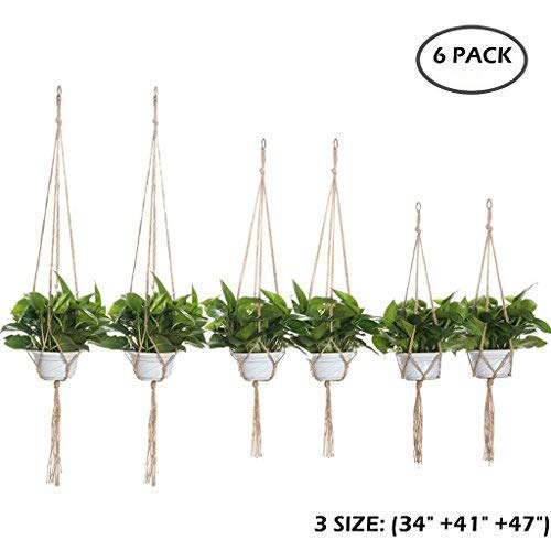 iMazer Plant Hangers 6 Pack, Boho Macrame Succulents Hangers Indoor Hanging Planter Rope Holder Pot Holder Garden Accessories for 3 Different Sizes 34'' 41'' 47'' (Pot not Included) (Sample-6 Pack) by iMazer