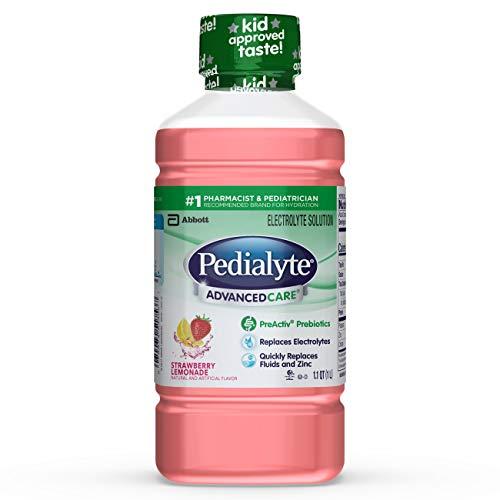 Pedialyte AdvancedCare Electrolyte Solution with PreActiv Prebiotics, Hydration Drink, Strawberry Lemonade, 1 Liter