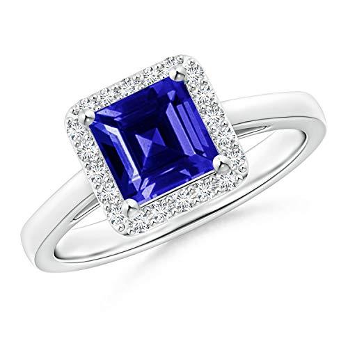 Classic Square Tanzanite Halo Ring in 14K White Gold (6mm Tanzanite)