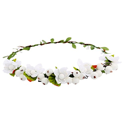 Renaissance Accessories (June Bloomy Floral Crown Wreath BOHO Berry Headband Hair Bands for Wedding Festival (White))