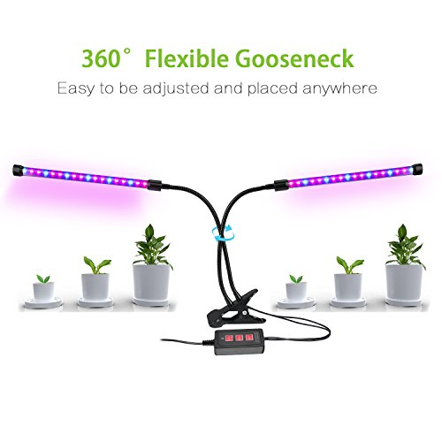 Lovebay Timing Function Dual Head Grow Light 36LED 5 Dimmable Levels Grow Lamp Bulbs with Adjustable 360 Degree Gooseneck for Indoor Plants Hydroponics Greenhouse Gardening [2018 Upgraded]