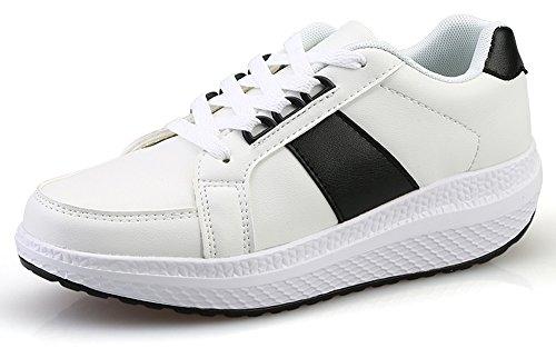 Ciabatte Zeppe In Pelle Elegante Per Donna, Scarpe Da Fitness, Scarpe Da Ginnastica, Sneaker Bianco