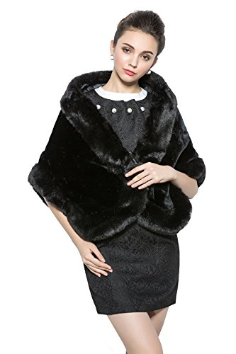 New Bridal Party Evening/Wedding Faux Fur Shawl Black