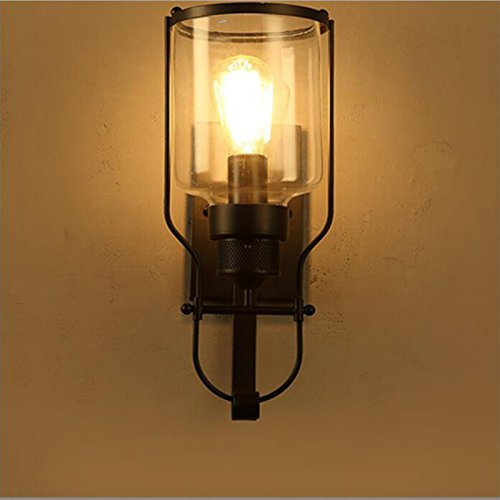 OOFAY Wall Light@ Wall Lights Industrial Vintage Iron Art Glass Lampshade Personality Coffee Bar Kitchen Club Northern Europe Creativity Metal Lamp Fixture E27 Black (Including Bulb)