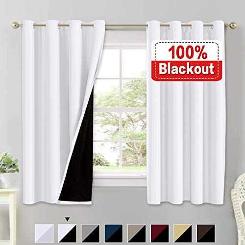 (Flamingo P 100% Blackout White Curtains for Bedroom Thermal Insulated Energy Saving Blackout Curtains 63 Length Double Layer Lined Curtains Window Treatment Panels Set of 2, Grommet Top, White)