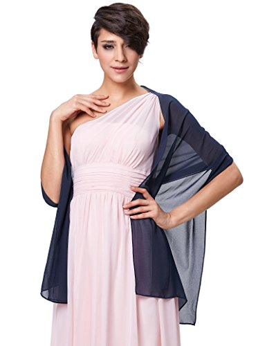 Solid Wedding Shawls Wraps Women's Evening Dress Scarves Dark Blue - Shawl Wedding Dress Gown