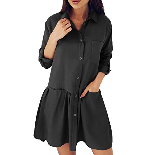 Casual Longues Chemise avec Poches Chic Noir millenniums Loose Automne Floral lgante Tops Robe Bouton Chemisier Manches Courte Fashion Top Blouse qwPnxzSnY4
