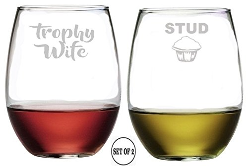 TROPHY WIFE STUD MUFFIN Stemless Wine Glasses | Etched Engraved | Perfect Fun Handmade Present for Everyone | Lead Free | Dishwasher Safe | Set of 2 | 4.25