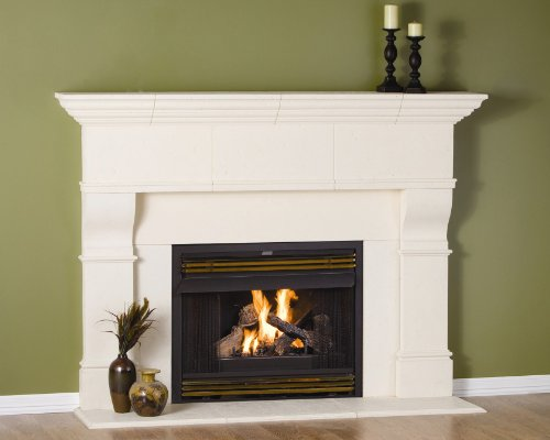 Edinborough Thin Cast Stone Adjustable Fireplace Mantel - Complete Unit Kit - Includes Hearth and Interior Adjustable Panels