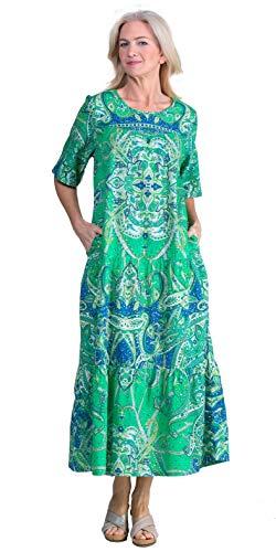 (La Cera Long Cotton Short Sleeve Muumuu Dress in Clover Delight (Green/Blue,)