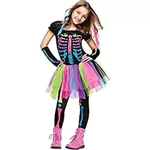 Children's Halloween Beauty Costume Rainbow Skeleton Skirt(Small Black) -