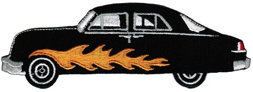 (Hot Rod Iron-On Patch Embroidered Car Flames Souvenir Flaming Ford Mercury)